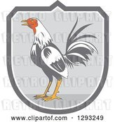 Vector Clip Art of Retro Crowing Rooster in a Gray and White Shield by Patrimonio