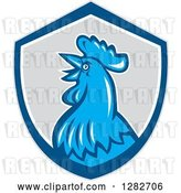 Vector Clip Art of Retro Crowing Rooster in a Gray Blue and White Shield by Patrimonio