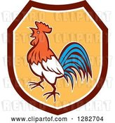 Vector Clip Art of Retro Crowing Rooster in a Maroon White and Yellow Shield by Patrimonio