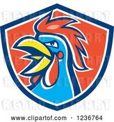 Vector Clip Art of Retro Crowing Rooster in a Red and Blue Shield by Patrimonio