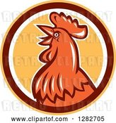 Vector Clip Art of Retro Crowing Rooster in a Yellow Brown and White Circle by Patrimonio