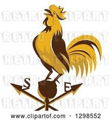 Vector Clip Art of Retro Crowing Rooster on a Weather Vane by Patrimonio