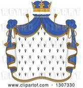 Vector Clip Art of Retro Crown and Patterned Royal Mantle with Blue Drapes by Vector Tradition SM