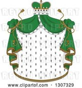 Vector Clip Art of Retro Crown and Patterned Royal Mantle with Green Drapes by Vector Tradition SM