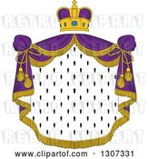 Vector Clip Art of Retro Crown and Patterned Royal Mantle with Purple Drapes by Vector Tradition SM