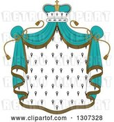 Vector Clip Art of Retro Crown and Patterned Royal Mantle with Turquoise Drapes by Vector Tradition SM