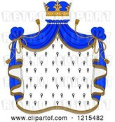 Vector Clip Art of Retro Crown and Royal Mantle with Blue Drapes by Vector Tradition SM