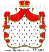 Vector Clip Art of Retro Crown and Royal Mantle with Red Drapes 2 by Vector Tradition SM