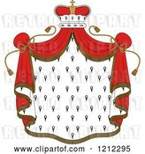Vector Clip Art of Retro Crown and Royal Mantle with Red Drapes by Vector Tradition SM