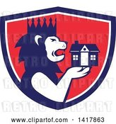Vector Clip Art of Retro Crowned King Lion Holding a House in a Blue White and Red Crest by Patrimonio