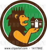 Vector Clip Art of Retro Crowned King Lion Holding a House in a Brown White and Green Circle by Patrimonio