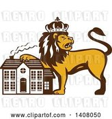 Vector Clip Art of Retro Crowned King Lion Resting a Paw on a House by Patrimonio