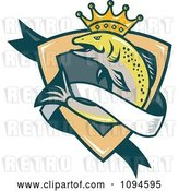 Vector Clip Art of Retro Crowned King Salmon Shield and Banner by Patrimonio
