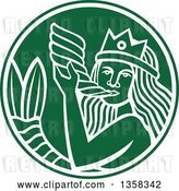 Vector Clip Art of Retro Crowned Mermaid Blowing a Shell Horn in a Green and White Circle by Patrimonio
