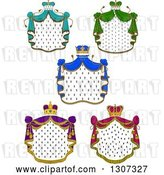 Vector Clip Art of Retro Crowns and Patterned Royal Mantlse with Different Colored Drapes by Vector Tradition SM