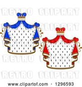 Vector Clip Art of Retro Crowns and Royal Mantles with Red and Blue Drapes by Vector Tradition SM