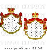 Vector Clip Art of Retro Crowns and Royal Mantles with Red Drapes by Vector Tradition SM