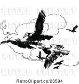 Vector Clip Art of Retro Crows Flying by Prawny Vintage