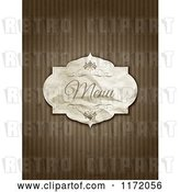 Vector Clip Art of Retro Crumpled Menu Label on Grungy Brown Stripes by KJ Pargeter