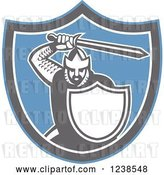 Vector Clip Art of Retro Crusader Knight Holding a Sword in a Shield by Patrimonio