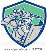 Vector Clip Art of Retro Crusader Knight Wielding a Sword in a Blue White and Green Shield by Patrimonio