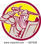 Vector Clip Art of Retro Crusader Knight Wielding a Sword in a Circle by Patrimonio
