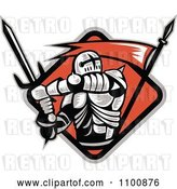 Vector Clip Art of Retro Crusader Knight with a Sword and Red Flag in a Diamond by Patrimonio
