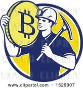 Vector Clip Art of Retro Crytocurrency Miner with a Bitcoin on His Shoulder and a Pickaxe by Patrimonio