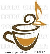 Vector Clip Art of Retro Cup of Brown Tea with a Leaf 1 by Vector Tradition SM