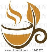 Vector Clip Art of Retro Cup of Brown Tea with a Leaf 4 by Vector Tradition SM