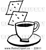 Vector Clip Art of Retro Cup of Coffee or Soup and Crackers by BestVector