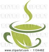 Vector Clip Art of Retro Cup of Green Tea or Coffee 2 by Vector Tradition SM
