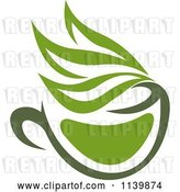 Vector Clip Art of Retro Cup of Green Tea or Coffee 8 by Vector Tradition SM