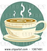 Vector Clip Art of Retro Cup of Hot Coffee on a Saucer, over a Blue Circle by Andy Nortnik