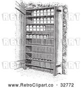 May 4th, 2018: Vector Clip Art of Retro Cupboard Shelves with Canned Goods in Black and White by Picsburg