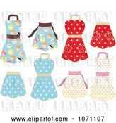 Vector Clip Art of Retro Cupcake and Polka Dot Aprons by Elaineitalia
