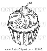 Vector Clip Art of Retro Cupcake by AtStockIllustration