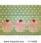 Vector Clip Art of Retro Cupcakes over Green Polka Dots on Wood by Elaineitalia
