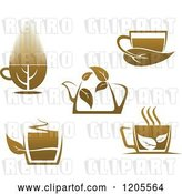 Vector Clip Art of Retro Cups and a Pot of Brown Tea or Coffee by Vector Tradition SM
