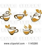 Vector Clip Art of Retro Cups of Brown Tea with Leaves by Vector Tradition SM
