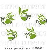 Vector Clip Art of Retro Cups of Green Tea or Coffee 2 by Vector Tradition SM
