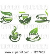Vector Clip Art of Retro Cups of Green Tea or Coffee 3 by Vector Tradition SM