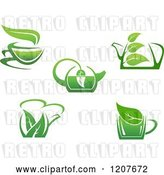 Vector Clip Art of Retro Cups of Green Tea or Coffee 4 by Vector Tradition SM