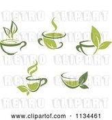 Vector Clip Art of Retro Cups of Green Tea or Coffee by Vector Tradition SM