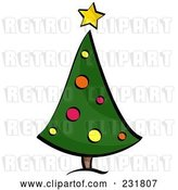 August 14th, 2018: Vector Clip Art of Retro Curved Christmas Tree by BNP Design Studio
