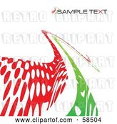 Vector Clip Art of Retro Curvy Green and Red Line Background with Sample Text by MilsiArt