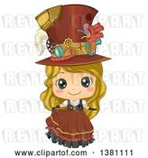 Vector Clip Art of Retro Cute Blond White Steampunk Girl Posing in a Dress and Hat by BNP Design Studio