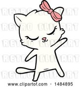 Vector Clip Art of Retro Cute Cartoon Cat with Bow by Lineartestpilot