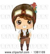 Vector Clip Art of Retro Cute Steampunk Boy Wearing a Helmet by BNP Design Studio