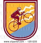 Vector Clip Art of Retro Cyclist Guy Riding Uphill in a Shield by Patrimonio